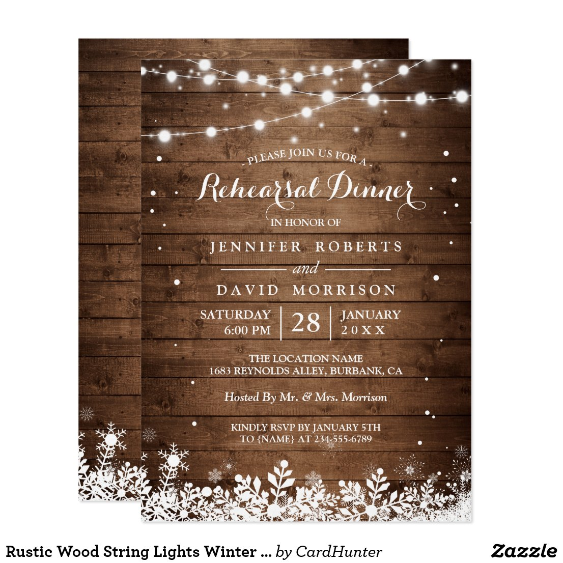 Rustic Wood String Lights Winter Rehearsal Dinner Invitation