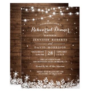 Rustic Wood String Lights Winter Rehearsal Dinner Invitation