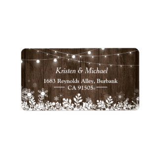 Rustic Wood String Lights Winter Snowflakes Label