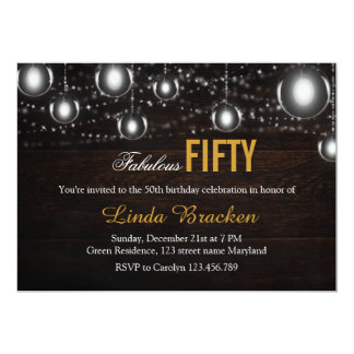 """Rustic Wood String of Lights Fabulous Fifty Invite 5"""" X 7"""" Invitation Card"""