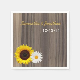 Rustic Wood Sunflower and Daisy Custom Wedding Paper Napkin