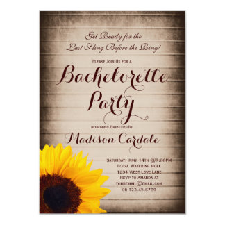 Rustic Wood Sunflower Bachelorette Party Invites