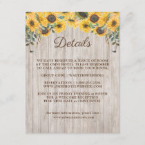 Rustic Wood Sunflower Barn Wedding Enclosure Card
