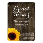 "Rustic Wood Sunflower Bridal Shower Invitations 4.5"" X 6.25"" Invitation Card"