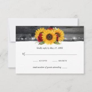 Rustic Wood Sunflower Burgundy Red Rose Wedding RSVP Card