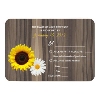 Rustic Wood Sunflower & Daisy RSVP w/ Meal Options Card