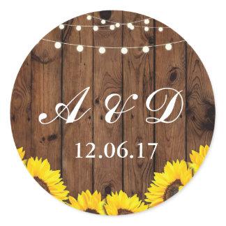 Rustic Wood Sunflower Light Flower Stickers Labels