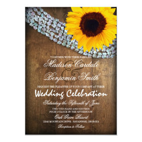 Rustic Wood Sunflower Sparkle Wedding Invitations