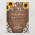 """Rustic Wood Sunflower String Lights Lace Mason Jar Invitation<br><div class=""""desc"""">A beautiful and modern invitation with hand painted flowers. This rustic design will add a perfect touch to your wedding. Personalize it with your your details or add an additional wording to it!</div>"""