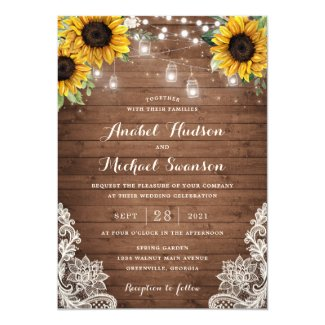 Rustic Sunflower Wedding Invitation Cards, Wood String Lights, Lace Mason Jar