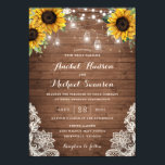 "Rustic Wood Sunflower String Lights Lace Mason Jar Invitation<br><div class=""desc"">A beautiful and modern invitation with hand painted flowers. This rustic design will add a perfect touch to your wedding.