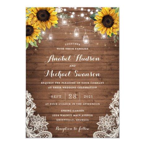 Rustic Wood Sunflower String Lights Lace Mason Jar Invitation