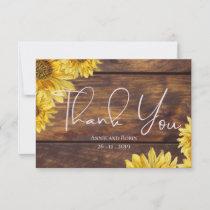 Rustic Wood Sunflower Wedding Thank You RSVP Card