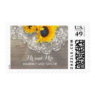 Rustic Wood Sunflowers and Lace Wedding Postage Stamps at UniqueRusticWeddingInvitations.com
