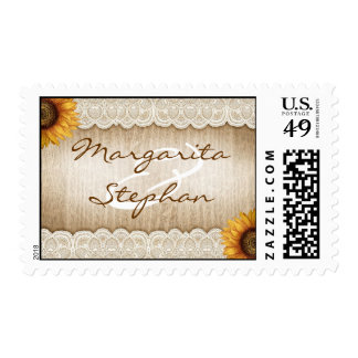 rustic wood sunflowers and lace wedding stamps