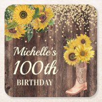 Rustic Wood Sunflowers Cowboy Boots 100th Birthday Square Paper Coaster