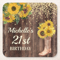 Rustic Wood Sunflowers Cowboy Boots 21st Birthday Square Paper Coaster