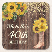 Rustic Wood Sunflowers Cowboy Boots 40th Birthday Square Paper Coaster