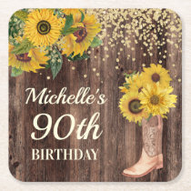 Rustic Wood Sunflowers Cowboy Boots 90th Birthday Square Paper Coaster