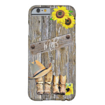 Rustic Wood Sunflowers, Cowboy Boots and Hats Barely There iPhone 6 Case