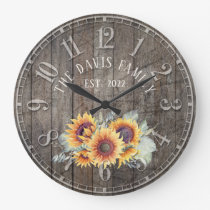 Rustic Wood Sunflowers Custom Family Name Clock