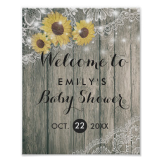 Rustic Wood Sunflowers Lace Baby Shower Welcome Poster