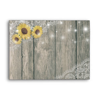 Rustic Wood Sunflowers Lace String Lights Wedding Envelope
