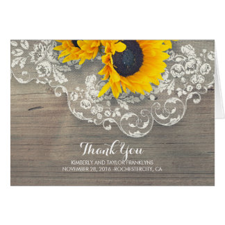 Rustic Wood Sunflowers Lace Wedding Thank You