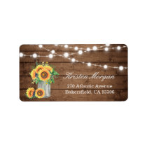 Rustic Wood Sunflowers Mason Jar Lights Wedding Label