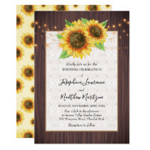 Rustic Wood Sunflowers String Lights Lace Wedding Invitation
