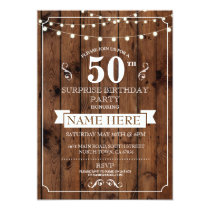 Rustic Wood Surprise Birthday Party 50th Invite