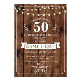 Surprise 50th birthday invitations announcements zazzle rustic wood surprise birthday party 50th invite filmwisefo Gallery