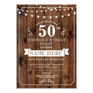 Surprise 50th birthday party invitations announcements zazzle rustic wood surprise birthday party 50th invite filmwisefo Choice Image