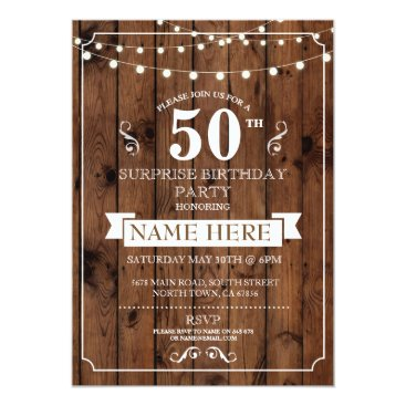 WOWWOWMEOW Rustic Wood Surprise Birthday Party 50th Invite