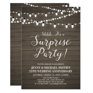 Rustic Wood Surprise Wedding Anniversary Party Card