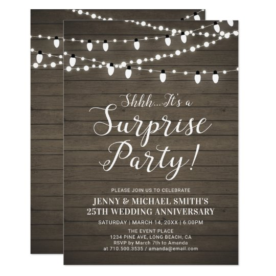 Rustic Wood Surprise Wedding Anniversary Party Invitation