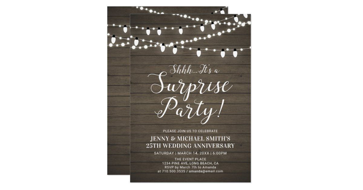 Surprise Wedding Anniversary Invitations: Rustic Wood Surprise Wedding Anniversary Party Invitation