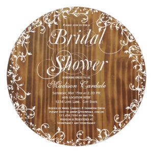 Rustic Wood Swirls Round Bridal Shower Invitations