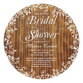 "Rustic Wood Swirls Round Bridal Shower Invitations 5.25"" Square Invitation Card"