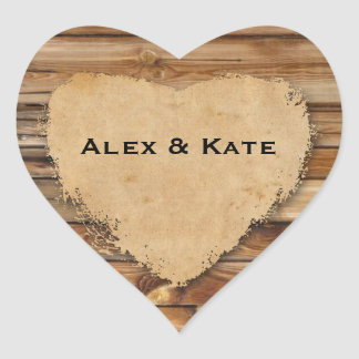 Rustic Wood Tattered Heart Wedding Favor Seals Heart Sticker
