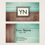 rustic, wood, teal background business card