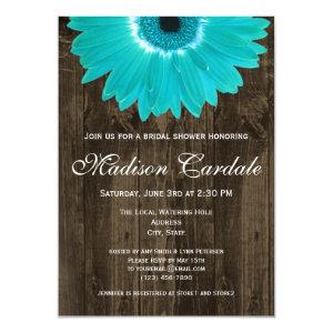 Rustic Wood Teal Daisy Bridal Shower Invitation Custom Invites