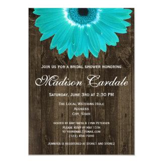 Rustic Wood Teal Daisy Bridal Shower Invitation