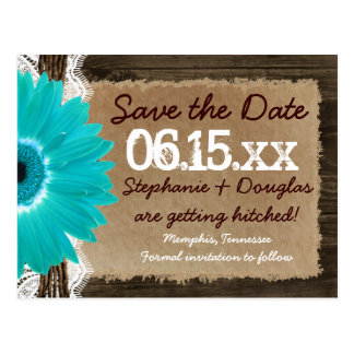 Rustic Wood Teal Daisy Save the Date Postcards
