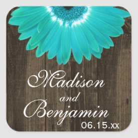 Rustic Wood Teal Daisy Wedding Favor Stickers