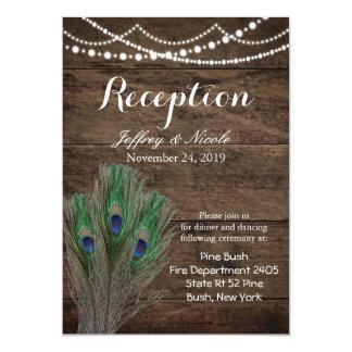 Rustic Wood Teal Feather Peacock Wedding Card