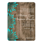 Rustic Wood Teal Flowers Wedding Invitations Personalized Invite