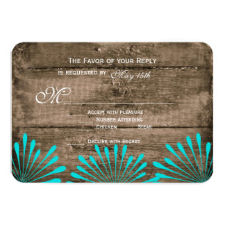 Rustic Wood Teal Flowers Wedding RSVP Cards Personalized Announcements