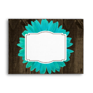 Rustic Wood Teal Gerber Daisy Custom Envelopes