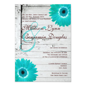 Rustic Wood Teal Gerber Daisy Wedding Invitations Personalized Invitation